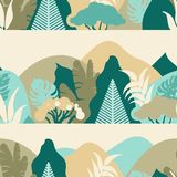 Seamless pattern with forest in the mountains with tropical plants. Landscape for tourism. Preservation of the environment. Park, outdoor space. Vector vector illustration