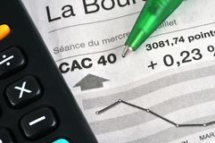 CAC 40 Stock Market Results stock photography