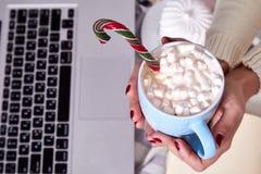 Caca caliente dulce de la Feliz Navidad de la mañana de la mujer de la taza hermosa de la bebida Imagen de archivo libre de regalías