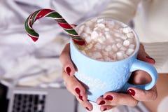 Caca caliente dulce de la Feliz Navidad de la mañana de la mujer de la taza hermosa de la bebida Imágenes de archivo libres de regalías