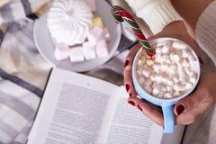 Caca caliente dulce de la Feliz Navidad de la mañana de la mujer de la taza hermosa de la bebida Fotos de archivo