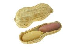 Cacahuetes en un fondo blanco nueces, haba, guisante, judía Imagen de archivo