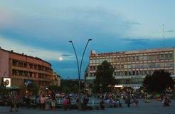 Cacak Downtown Details. Cacak, Serbia - July 26, 2018: Downtown details during evening, summer season, main public square architecture structure stock photo