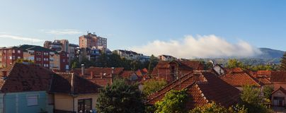 Cacak Town in the Morning. One beautiful morning in small Balkan Serbian town Cacak Stock Image