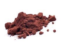 Cacao. Powder on white ground Stock Photo