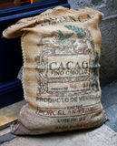 Cacao Bag. Cocoa beens bag on the street of Lyon, France Royalty Free Stock Photo
