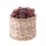 Cacao beans in basket isolated on white backgroun Stock Photo