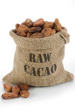 Cacao beans. In burlap bag stock photo