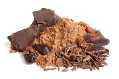 Cacao beans, cacao powder and chocolate Stock Photo