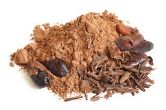 Cacao beans, cacao powder and chocolate Stock Photography