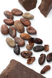 Cacao beans and chocolate Stock Photos