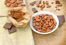 Cacao beans, cocoa powder and black chocolate Stock Images