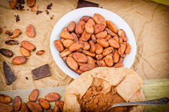 Cacao beans, cocoa powder and black chocolate on table Stock Photos