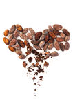 Cacao beans heart Royalty Free Stock Photos