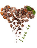 Cacao beans heart and Love is sign Royalty Free Stock Photo