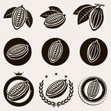 Cacao beans label and icons set. Vector. Cacao beans label and icons set royalty free illustration