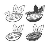 Cacao. Beans monochrome simple illustration, for logo, for your label Stock Photos