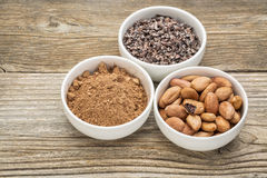 Cacao beans, nibs and powder. In white ceramic bowls against grained wood stock photos