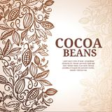 Cacao beans plant, Vector exotic cacao plants. Cocoa tree design template royalty free illustration