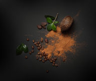 Cacao beans and powder isolated Stock Photos