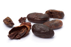 Cacao beans  on white Stock Photo