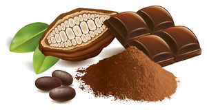 Free Cacao Beans With Chocolate Table And Cacao Powder Stock Photo - 123357830