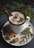 Cacao bożych narodzeń cynamonowy drzewny wygodny drewniany tło fotografia stock