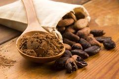 Cacao (cacao) bonen stock foto's
