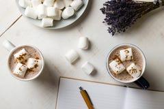 Cacao caldo con la caramella gommosa e molle Immagini Stock Libere da Diritti