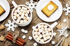 Cacao caldo con le mini caramelle gommosa e molle immagini stock