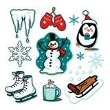 Cacao caldo dei pattini da ghiaccio stabiliti della slitta dell'illustrazione di divertimento di inverno del pupazzo di neve Immagine Stock Libera da Diritti