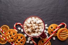 Cacao chaud d'hiver avec des biscuits et des cannes de sucrerie PS plat de copie de vue photo libre de droits