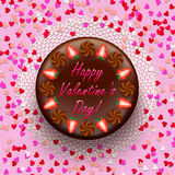 Cacao and chocolate valentine pie decorated with Royalty Free Stock Photo