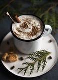 Cacao choinki cynamonowy wygodny drewniany tło zdjęcia royalty free