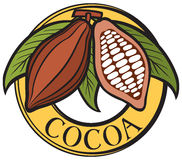 Cacao - cocoa beans label. Cocoa plant, intersection of cocoa plants Royalty Free Stock Photography