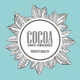 Cacao, cocoa Hand hand drawn wreath botany vector illustration. Cacao Decorative doodle. Of healthy nutrient food. Cocoa engraving sketch etch line. Black on Royalty Free Stock Image