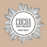 Cacao, cocoa Hand hand drawn wreath botany vector illustration. Cacao Decorative doodle of healthy nutrient food. Cocoa engraving sketch etch line. Black on Royalty Free Stock Photos