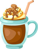 Cacao con vector poner crema azotado de la taza stock de ilustración