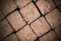 Cacao crudo orgánico - cubos sanos sabrosos del caramelo - modele la opinión superior de la textura del adorno Fotos de archivo