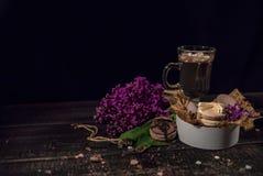 Cacao de chocolat chaud dans une tasse en verre Photos libres de droits