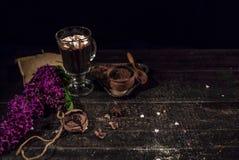 Cacao de chocolat chaud dans une tasse en verre Image libre de droits