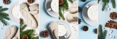 Cacao de la bebida del invierno con collage del marmallow Imagen de archivo