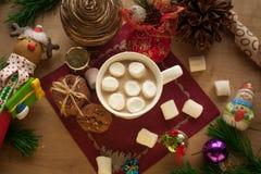 Cacao de la Navidad con la melcocha y las galletas hechas en casa Imagen de archivo