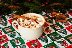 Cacao del casquillo con la melcocha en fondo de la Navidad foto de archivo libre de regalías