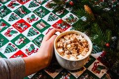 Cacao del casquillo con la melcocha en fondo de la Navidad imágenes de archivo libres de regalías