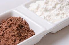 Cacao e farina Fotografia Stock Libera da Diritti