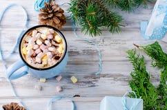 Cacao en la taza azul, regalos, abeto, conos del pino, en el de madera viejo Fotografía de archivo