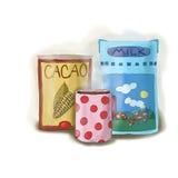 Cacao en melk in een doos Royalty-vrije Stock Fotografie