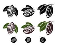 Cacao fasole ustawiać. Wektor Fotografia Stock