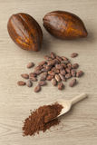 Cacao fruit, cocoa beans and cocoa powder Royalty Free Stock Photos